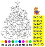 Ćwiczenie dla dzieci z mnożeniem pięć - potrzebuje malować wizerunek w istotnym kolorze Fotografia Royalty Free