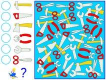 Ćwiczenie dla młodych dzieci Potrzebuje liczyć narzędzia i pisać korespondować liczby w okręgach Zdjęcie Royalty Free