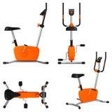 Ćwiczenie rower z monitorem i guzikami na rękojeściach, odgórnym widoku, bocznym widoku, frontowym widoku i ogólnym widoku, Obraz Stock