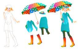 Ćwiczy dla dzieci rysować piękną suknię dla ulubionej lali i malować Zdjęcia Stock