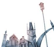 ćwierć historyczne sig wieże royalty ilustracja