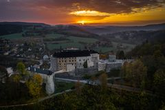 Český Šternberk Castle is a Bohemian castle of the mid-13th century. Located on the west side of the River Sazava overlooking the village with the royalty free stock photo