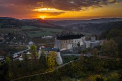 Český Šternberk Castle is a Bohemian castle of the mid-13th century. Located on the west side of the River Sazava overlooking the village with the stock photography