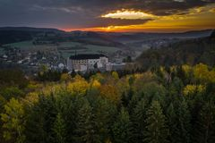 Český Šternberk Castle is a Bohemian castle of the mid-13th century. Located on the west side of the River Sazava overlooking the village with the stock photos