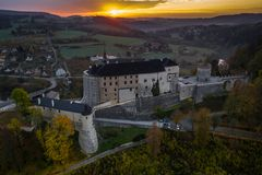 Český Šternberk Castle is a Bohemian castle of the mid-13th century. Located on the west side of the River Sazava overlooking the village with the royalty free stock photos