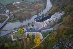 Český Šternberk Castle is a Bohemian castle of the mid-13th century. Located on the west side of the River Sazava overlooking the village with the royalty free stock images