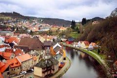 Český Krumlov 全景 免版税库存照片