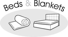 Łóżka i koc ilustracji