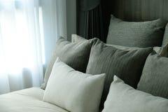 Łóżko i poduszka ustawiający w sypialni Obraz Royalty Free