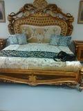 Łóżko który jest w ten sposób bardzo wspaniałymi i wspaniałymi spojrzeniami miękkimi Obrazy Royalty Free