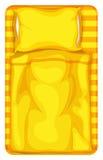 Łóżko z żółtą koc i poduszką ilustracja wektor