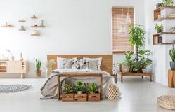 Łóżko z drewnianym headboard w białym przestronnym sypialni wnętrzu z spiżarnią i roślinami Istna fotografia fotografia stock