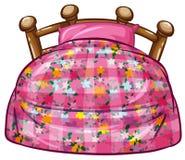 Łóżko z menchii poduszką i prześcieradłem royalty ilustracja