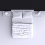 Łóżko z poduszkami i koc w narożnikowym pokoju, 3d ilustracja Zdjęcie Royalty Free