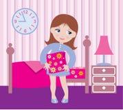 łóżkowa dziewczyna śpiącą idzie ilustracja wektor