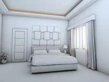 Łóżkowa izbowa wnętrze drutu rama ilustracja wektor