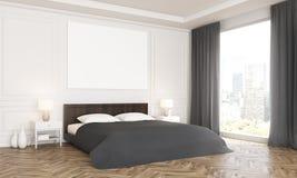 łóżkowego sypialnia czerepu nightstand poduszki ściany lampowy luksusowy biel Fotografia Royalty Free