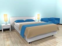 łóżkowy błękitny pokój Fotografia Stock