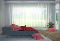 Łóżkowy izbowy wnętrze - czarna łóżka, czerwieni poduszka z i, drzewem, dywan, drewniana podłoga i biel ściana ?wiadczenia 3 d ilustracji