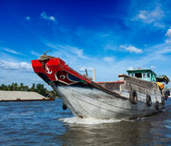 Łódź. Mekong rzeki delta, Wietnam Obraz Royalty Free