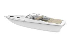 łódź motorowa odosobniony biel ilustracja wektor