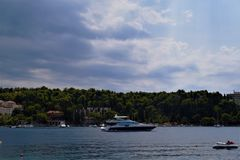 Łódź na dennym Chorwacja Obraz Royalty Free