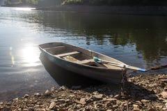 Łódź na Enisey rzece Fotografia Royalty Free