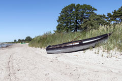 Łódź na plaży Zdjęcie Royalty Free