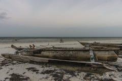 Łódź na plaży w Zanzibar Fotografia Royalty Free