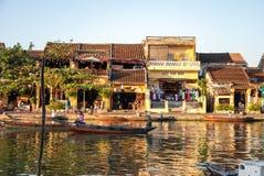Łódź na rzece w Hoi, Wietnam Obraz Royalty Free
