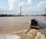 Łódź na rzecznym Chao Moscie Phraya Rama Fotografia Royalty Free
