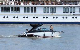 Łódź na Sava rzece Zdjęcia Royalty Free