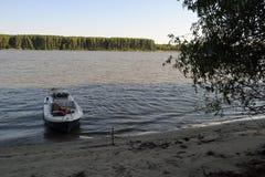 Łódź pod drzewami zdjęcie royalty free