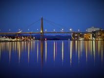łódź pod most dni zawieszenia Września ładną wodą Obraz Royalty Free