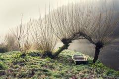 Łódź pod wierzbą w mgłowym ranku, pokojowy relaksu czasu wolnego pojęcie Zdjęcia Stock