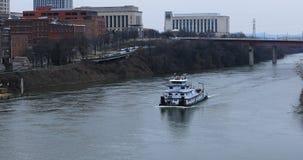 Łódź przechodzi Nashville, Tennessee centrum miasta 4K zdjęcie wideo