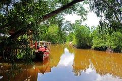 Łódź przy tropikalną rzeką Zdjęcia Stock