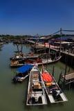 Łódź Rybacka dok w Ketam wyspie, Malezja Fotografia Stock