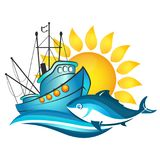 Łódź rybacka i słońce ilustracja wektor