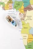 Łódź rybacka na mapie Obraz Stock