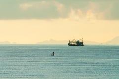 Łódź rybacka w schronieniu w ranku Fotografia Stock