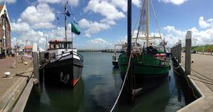 Łódź rybacka w Zuiderhaven panoramie Zdjęcia Stock