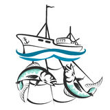 Łódź rybacka z chwyt sylwetką royalty ilustracja