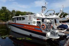 Łódź stanu inspektorat dla małych łódek ministerstwo dla Emergencies Rosja przy Khimki rezerwuarem fotografia stock
