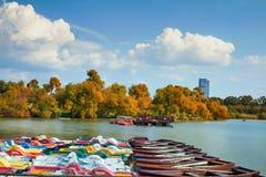 Łódź staw w miasto parku i drzewa obrazy royalty free