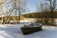 Łódź w śniegu Fotografia Stock