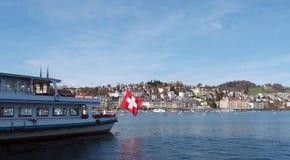 Łódź w Jeziornej lucernie, Szwajcaria Fotografia Royalty Free