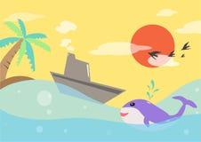 Łódź w morzu przy zmierzchem Obrazy Royalty Free