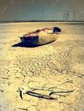 Łódź w pustyni Obrazy Royalty Free