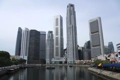 łódka quay Singapore miasta. Obrazy Royalty Free